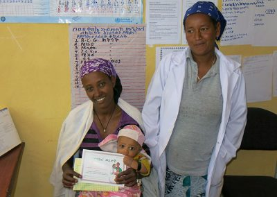 mother and child in clinic